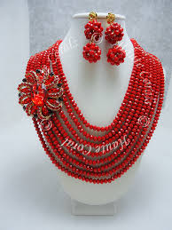 red necklace set images Olanna red crystal beads statement necklace set hautecorals jpg