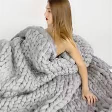 knit home decor new merino wool chunky knit blanket throw afghan yarn handmade