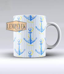 the striped blue and gold watercolor anchor mug custom for mug