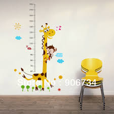 wall decals stickers picture more detailed about wholesale giraffe monkey removable vinyl wall decal stickers kids height chart measure