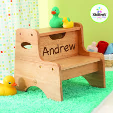 personalized two step natural stool for boys personalization un