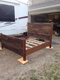 recycled pallet queen size bed bed pallets queen size beds and