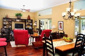 the den at dining in busy cozy homey living room den dining kitchen combo area open