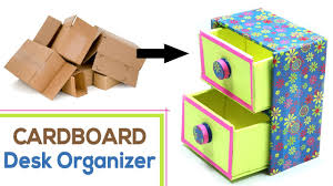 Decorative Cardboard Storage Boxes Home Organization How To Make Diy Desk Organizer With Waste Cardboard Craft Youtube