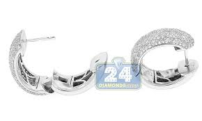 small white gold hoop earrings 14k white gold 3 66 ct diamond womens small hoop earrings 3 4 inches