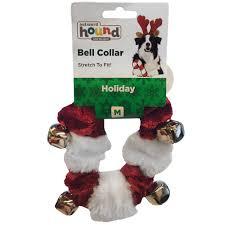 outward hound holiday bell collar red white medium