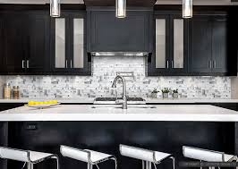 modern cabinet with white glass metal backsplash in kitchen part