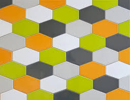 clayhaus 5x3 green ceramic hex tile chartreuse multicolor pattern