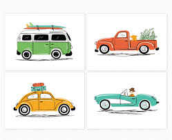 vintage surf car vintage car art set of 4 cool cars illustrations vw van