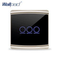 touch screen wall light switch 3 gang 1 way wallpad luxury black crystal glass switch panel touch