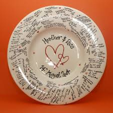 wedding signing plate the wobbly plate ceramics painting studio rugby signature plates