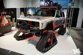 cherokee jeep xj 2016 sema jcr project snowhawk jeep xj cherokee on tracks