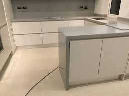 Corian Work Surfaces Corian U0027warm Grey U0027 Kitchen Solid Surface With Waterfall Effect