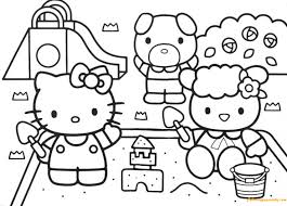 Hello Kitty Building A Sand Castle In The Park Coloring Page Sandcastle Coloring Page
