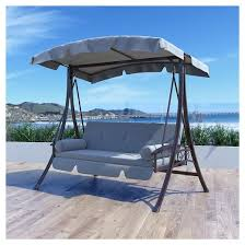 nantucket daybed patio swing in charcoal and gray corliving target
