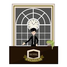 Free Standing Reception Desk Receptionist Standing At Hotel Luxury Reception Desk Cartoon