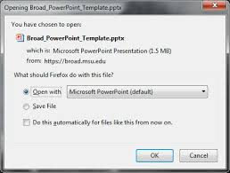 instructions to set up the broad college powerpoint template