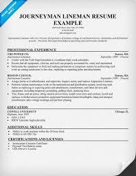 Examples Of Electrician Resumes by Lineman Resume Resume Badak