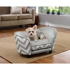 small pet beds enchanted home pet ultra plush chevron snuggle pet sofa bed gray