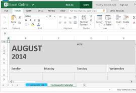 homework calendar template for excel