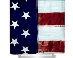 Red White And Blue Bathroom Decor - rustic flag curtain etsy