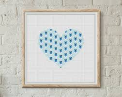 heart cross stitch etsy
