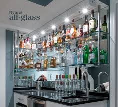 Home Bar Design Ideas Hanging Stack Bar With Glass Shelves And Mirror Wall Liquor Bar