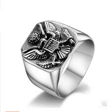 large silver rings images Army badge big rings for men vintage eagle sterling silver jewelry jpg