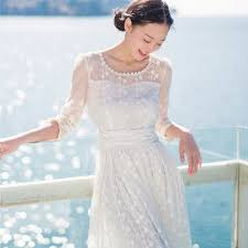 crochet lace embroidery vintage full dress europe white lace dress