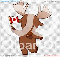 clipart of a cartoon patriotic moose holding a canadian flag
