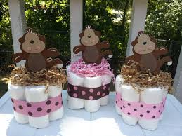 Centerpiece For Baby Shower by 3 Monkey Mini Diaper Cakes Baby Shower Centerpiece