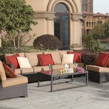 Patio Furniture Sectional Sets - darlee vienna 5 piece resin wicker patio sectional set ultimate
