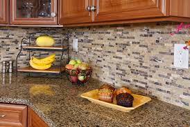 diy mosaic tile backsplash fresh home idea kitchen style granite countertop and brown cabinets decorating