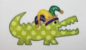 mardi gras alligator mardi gras gator embroidery design machine applique