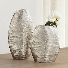 Wicker Vases Allegra Silver Vases Crate And Barrel