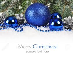 christmas border with blue and silver christmas decorations