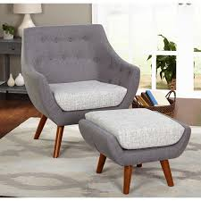simple living elijah mid century gray chair and ottoman set free