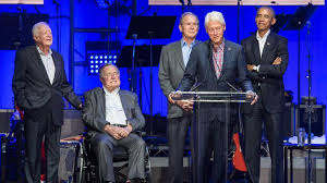 For The First Time Five Former Us Presidents Appear Together At