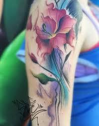 half sleeve colorful gladiolus tattoo of flower golfian com