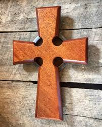 wooden celtic cross cross with ring mahogany crosses