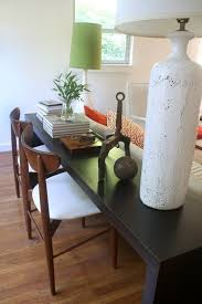 Sofa Table With Stools Redefining The Sofa Table Add Chairs Sofa Tables Poufs And
