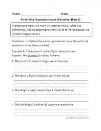 Nouns Worksheet Kids Nouns Worksheets Possessive Nouns Re Writing P 1 Beginner