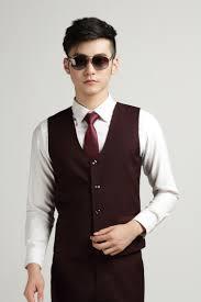 Men S Office Colors Wine Red Vest Men Autumn Fashion Men U0027s Office Formal Business