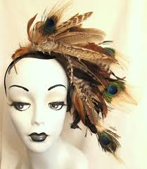 feather headband brown feather headband