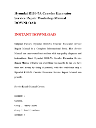 hyundai r110 7a crawler excavator service repair workshop manual