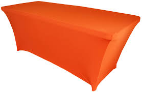 6ft Table Cloth by 6 Ft Rectangular Orange Spandex Tablecloths