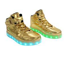 gold light up sneakers led light up shoes gold lace strap led fashion sneakers led