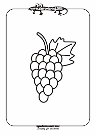 grape simple fruits easy coloring pages for toddlers printable of