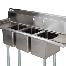 Kitchen Sink Image by 3 Compartment Sink With 2 Drainboards Regency 16 Gauge Three