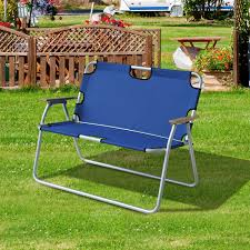 Double Seat Folding Chair Outsunny Folding Double Seat Picnic Chairs Portable Outdoor